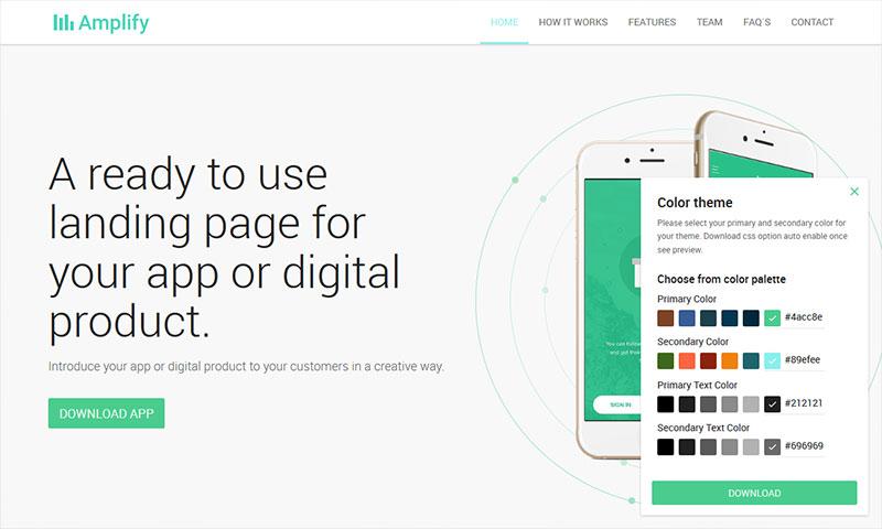 Amplify - App Landing Page WordPress Theme custom color settings