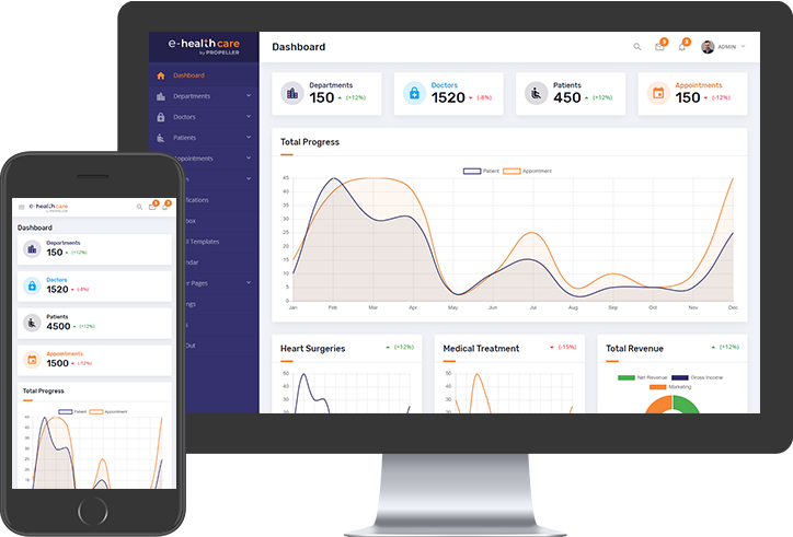 e-Health Care Admin Theme by Propeller - A Bootstrap 4 and Google's Material Design Standards based Admin Theme