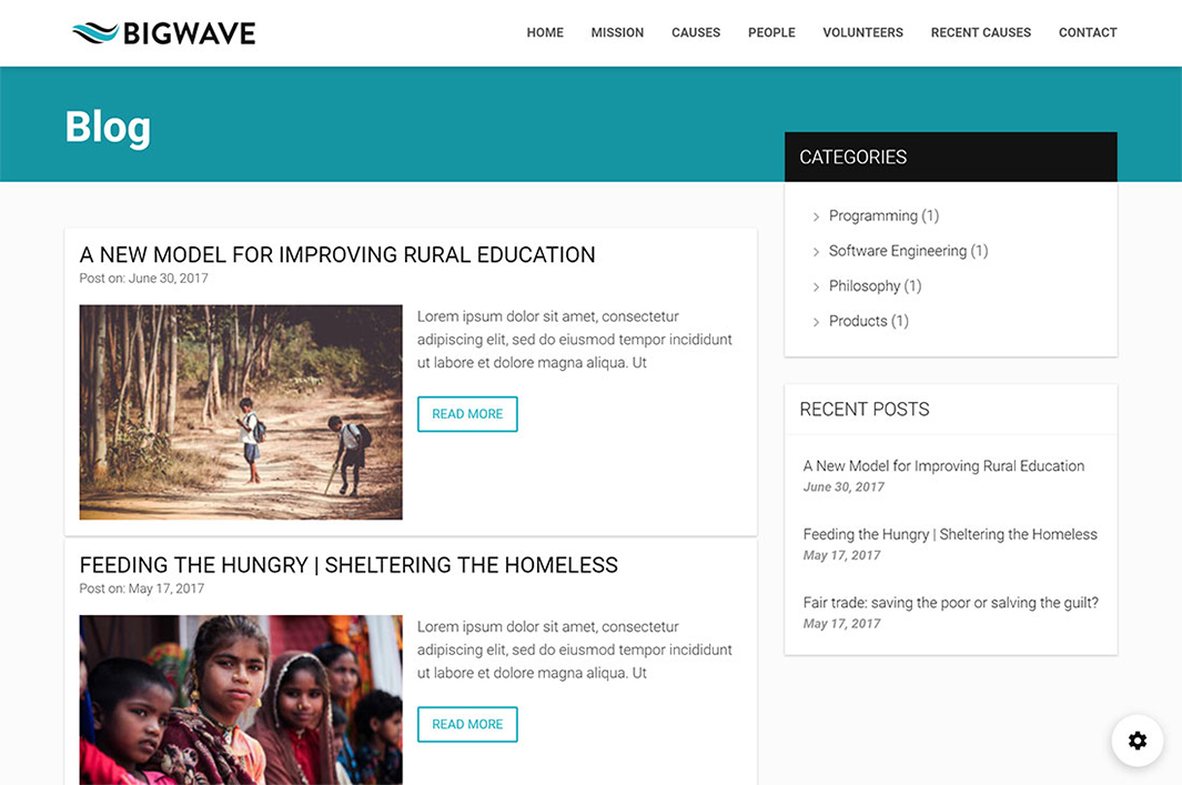 Blog page Section in Big Wave Wordpress Theme