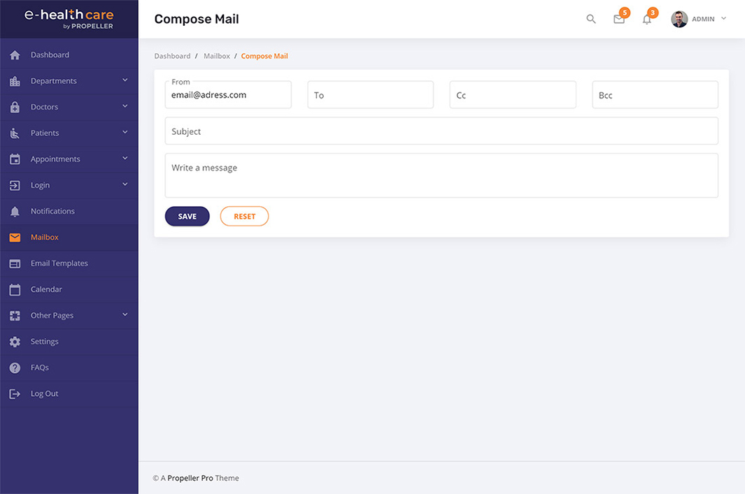 compose mail page template e health care admin theme by propeller