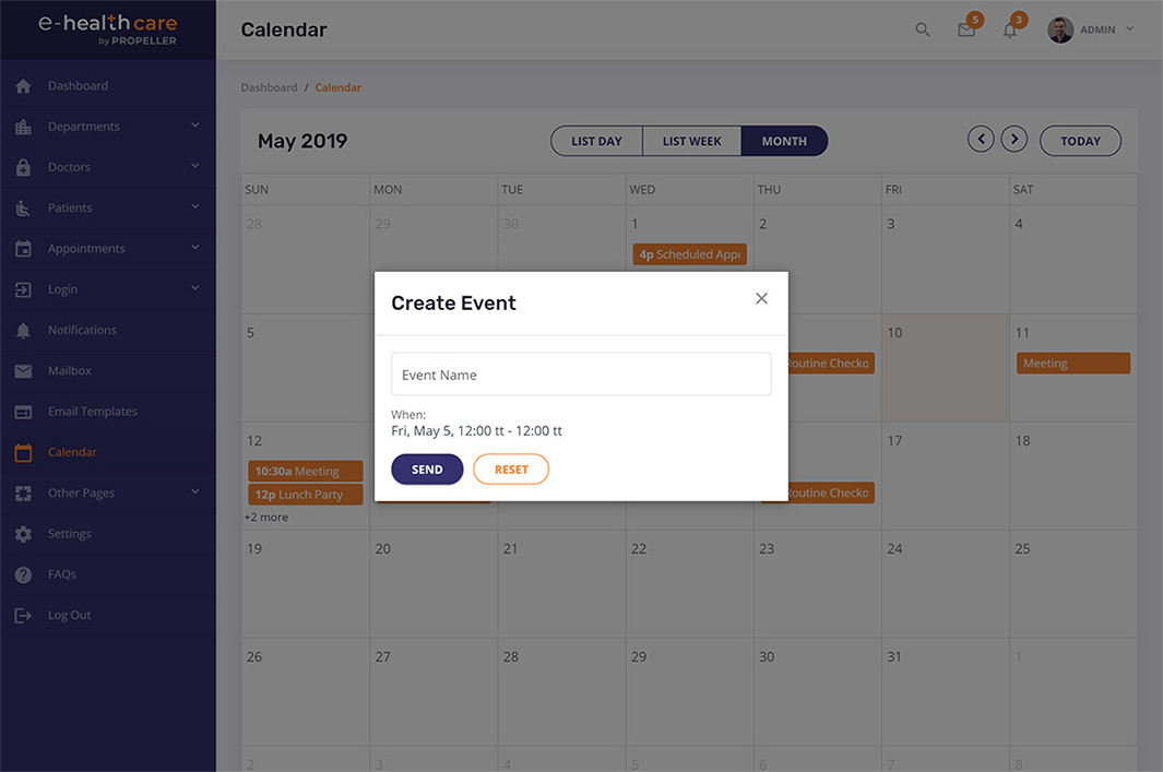 create event modal box calendar page template e health care admin theme by propeller