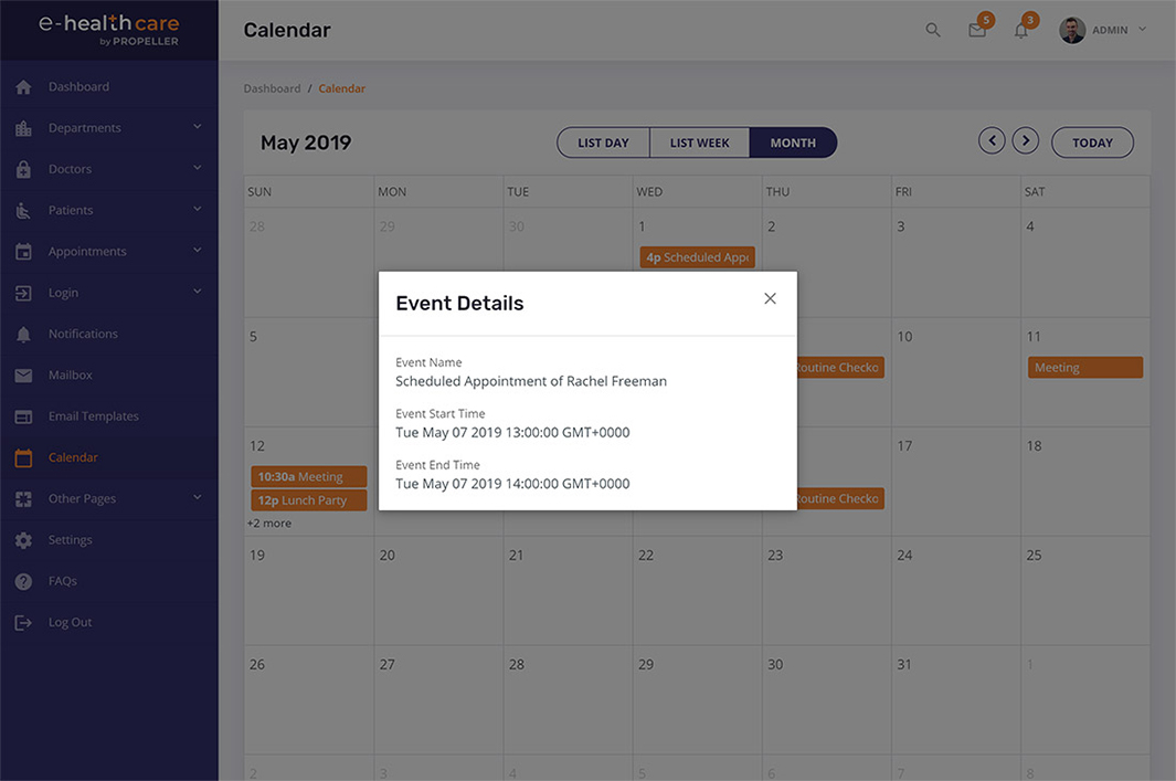 event details modal box calendar page template e health care admin theme by propeller