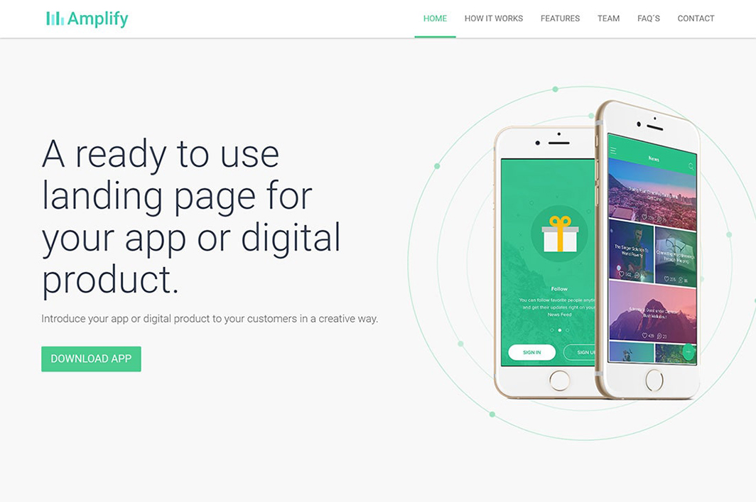Amplify App Landing Page Theme by Propeller