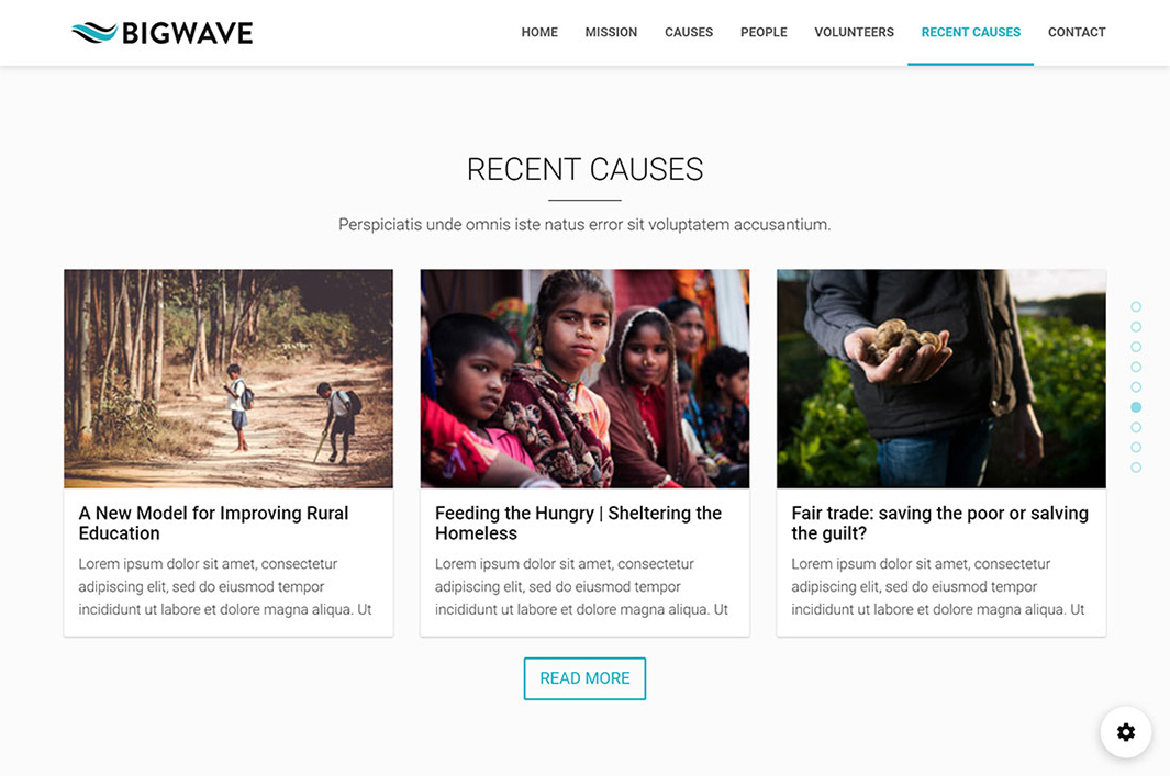 Home page Section in Big Wave Wordpress Theme
