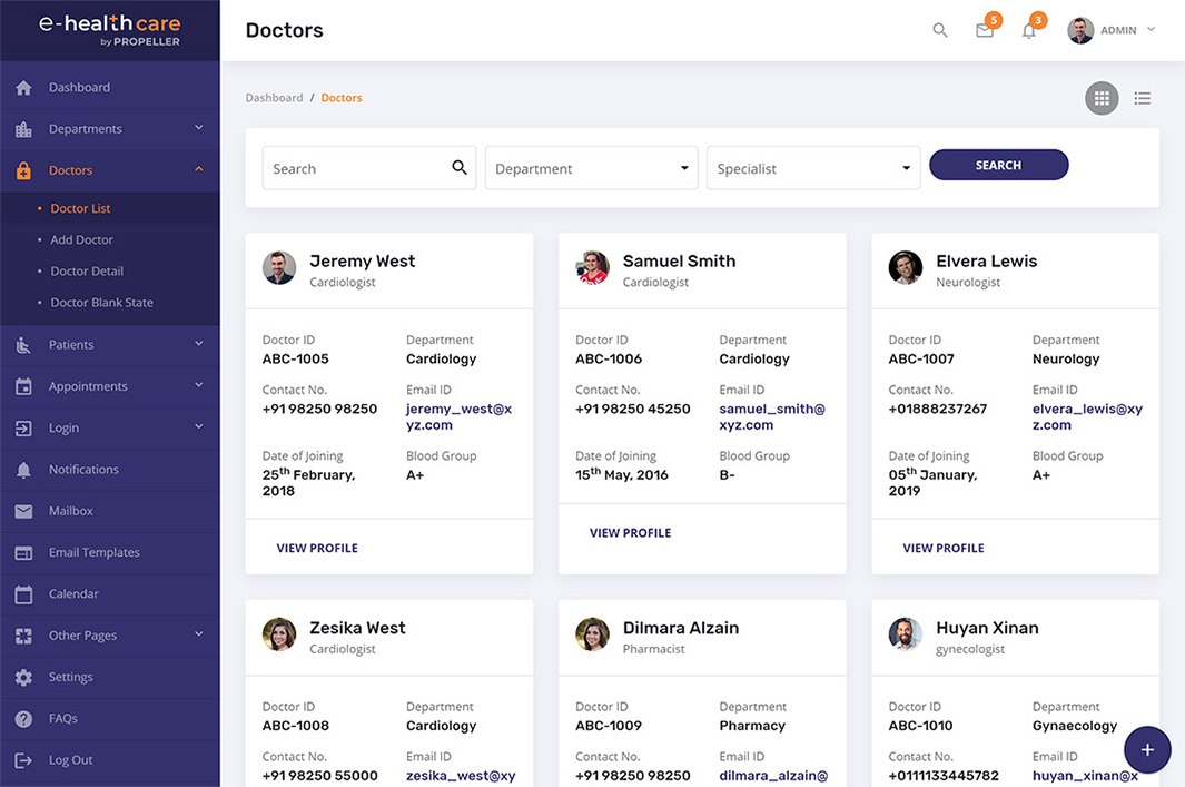 listing page grid view e health care admin theme by propeller