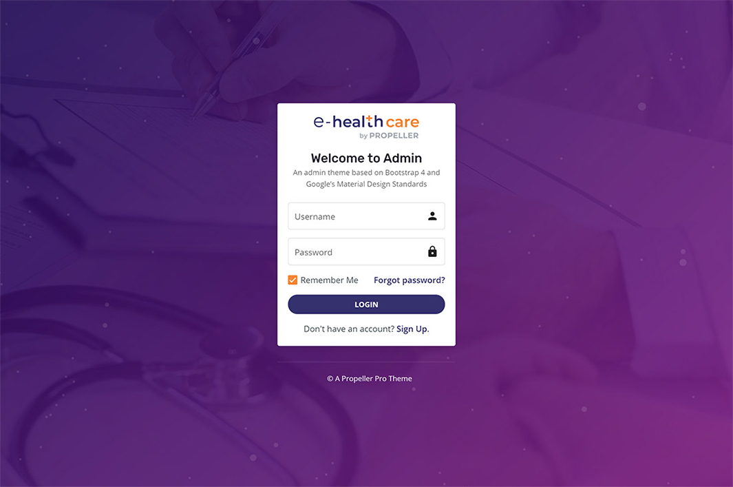 login page template 2 e health care admin theme by propeller