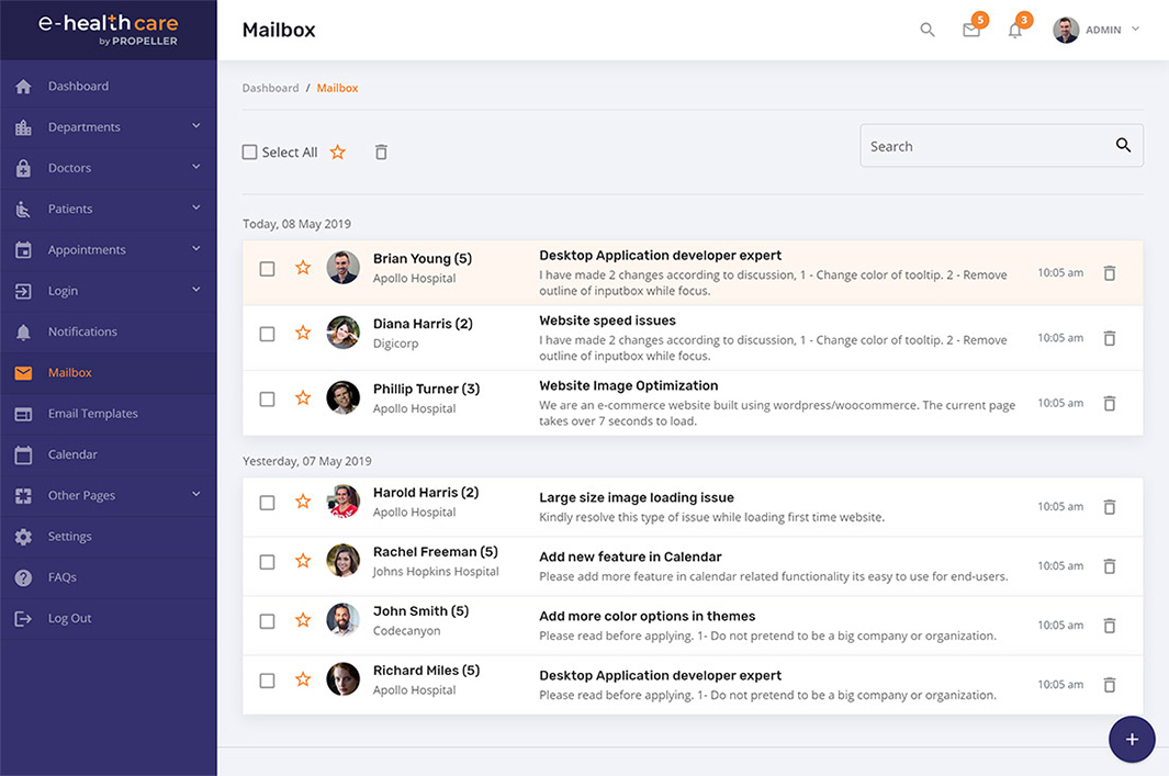 mailbox page template e health care admin theme by propeller