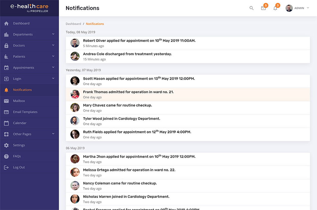 notifications page template e health care admin theme by propeller