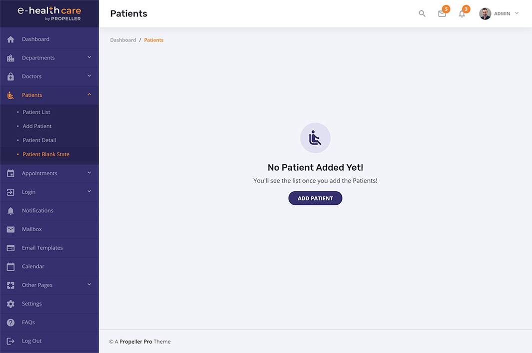 patient blank state template e health care admin theme by propeller