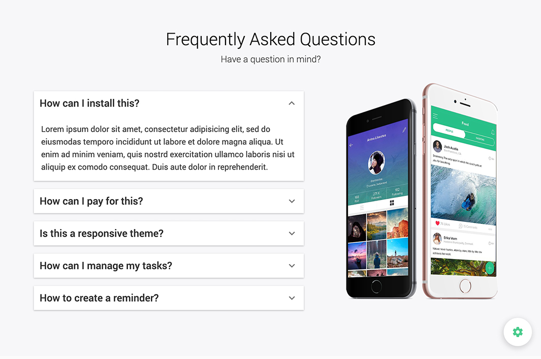 FAQs Section - Amplify Theme - Bootstrap 3 and Material Design based App Landing Page