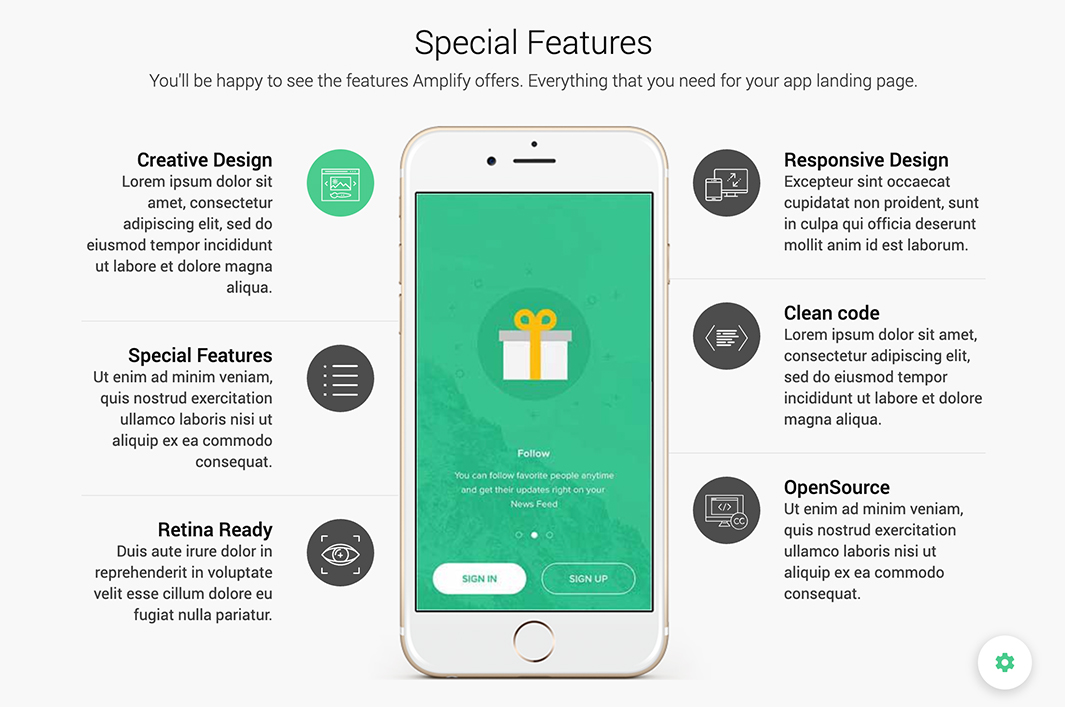 Features Section - Amplify Theme - Bootstrap 3 and Material Design based App Landing Page